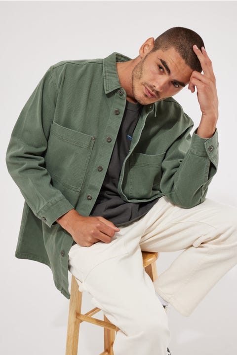 Common Need Drill Overshirt Washed Green