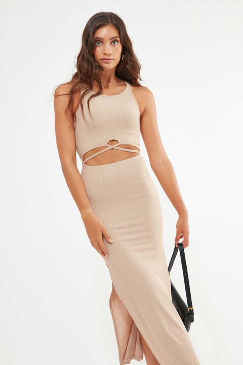 Luck & Trouble Muse Cut Out Dress Tan