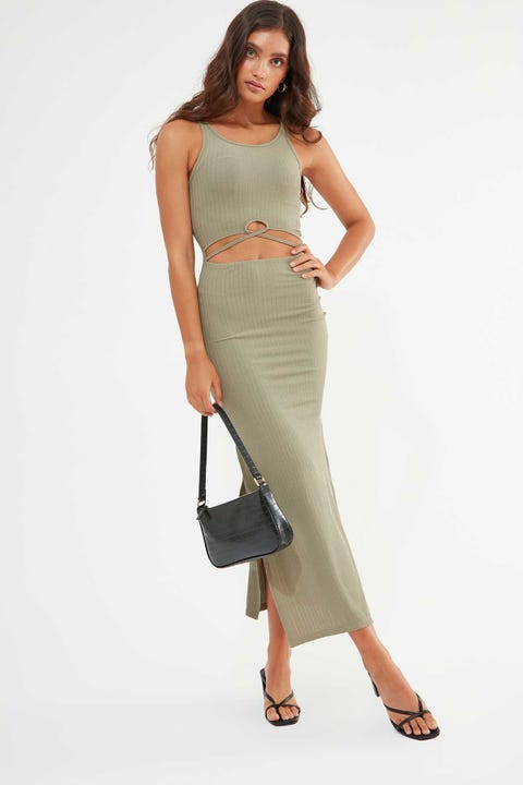 LUCK & TROUBLE Muse Cut Out Dress Khaki