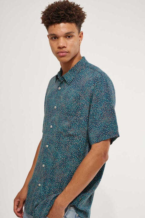 Barney Cools Holiday Short Sleeve Shirt Ditzy Ditzy Green