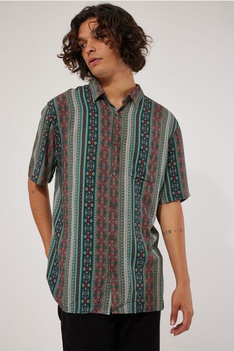 Common Need Ecuador Party Shirt Teal/Burgundy Print