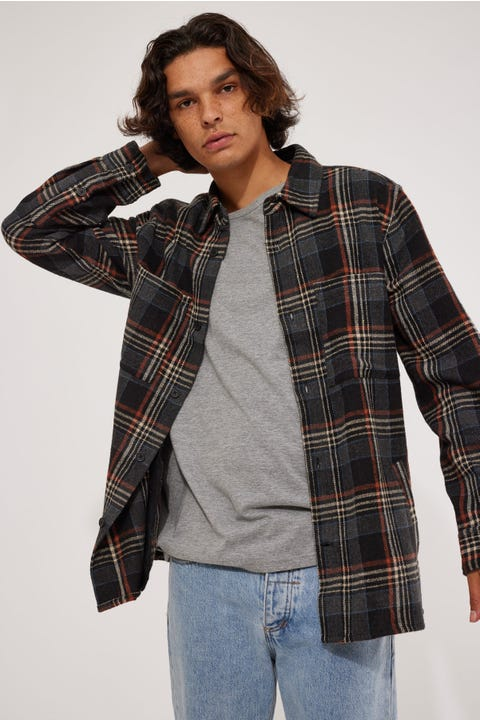 Common Need Camden Overshirt Black/Tan/Blue Check