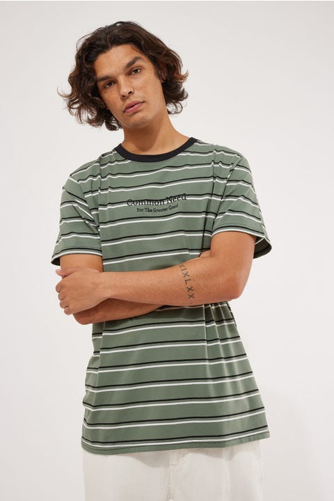 Common Need Stanley Stripe Tee Green/Black/White