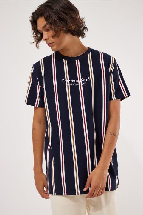 Common Need Bali Stripe Tee Navy/Red/Gold