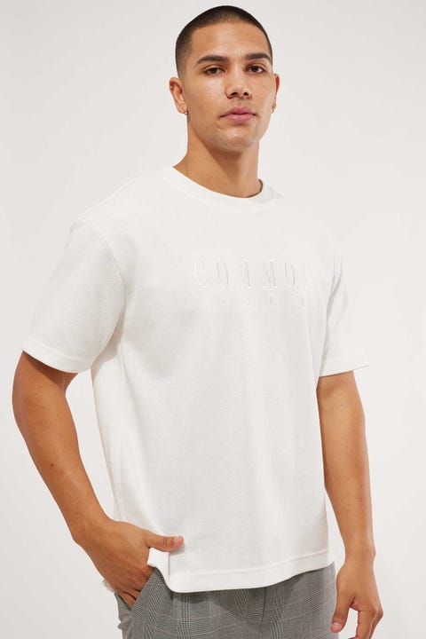 Common Need Textured Boxy Tee Off White