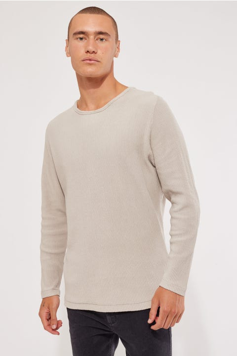 Common Need Ribbed Long Sleeve Tee Beige