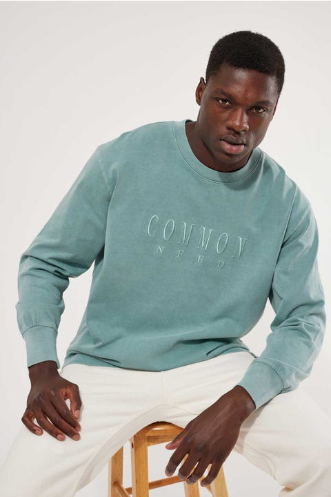 Common Need Sense Boxy Long Sleeve Tee Mineral Blue