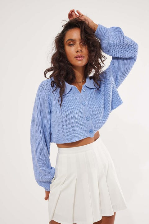 Perfect Stranger Slouchie Collared Knit Blue