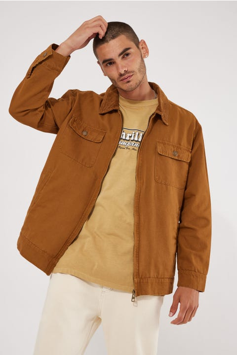 Common Need Cord Collar Worker Jacket Tobacco