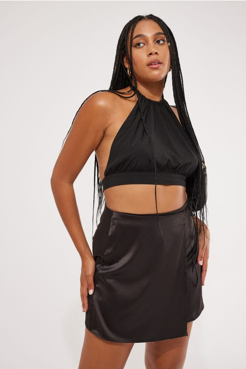Perfect Stranger Goodbye Halter Crop Black