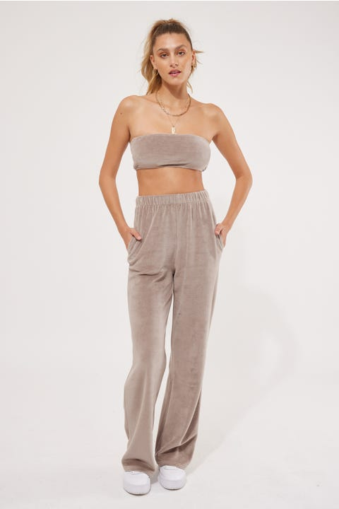 Luck & Trouble Velour Straight Leg Pant Taupe