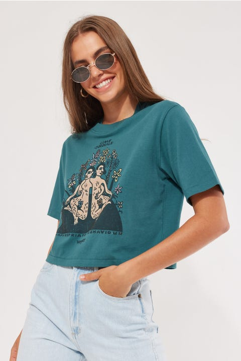 Wrangler x Lime Cordiale Inappropriate Crop Tee Washed Teal