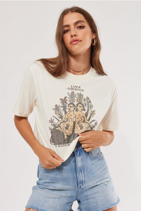 Wrangler x Lime Cordiale Inappropriate Crop Tee Ecru