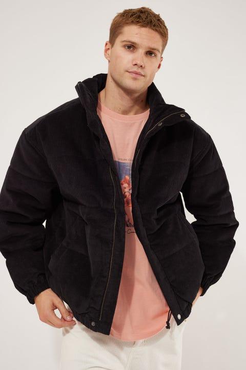 Barney Cools Puff Club Jacket Black Corduroy