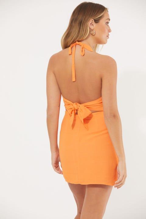 Perfect Stranger Halter Neck Mini Dress Orange
