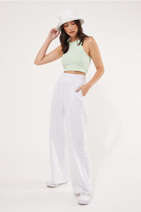 Luck & Trouble Wide Leg Track Pant Grey