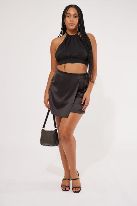 Luck & Trouble Wrap Front Mini Skirt Black