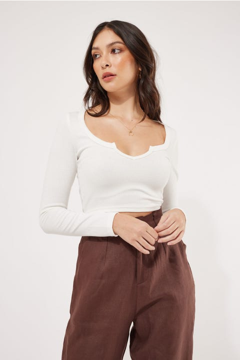 L&T Notched Long Sleeve Crop White