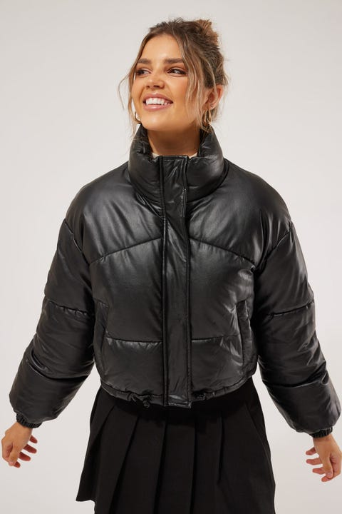 Luck & Trouble PU Puffer Jacket Black
