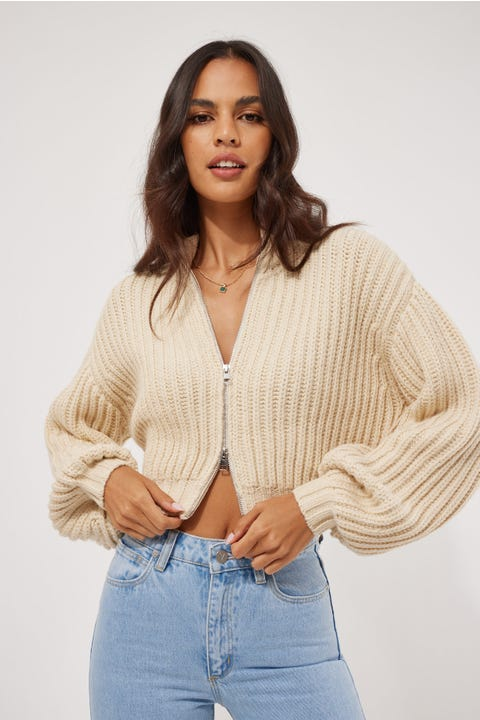 Perfect Stranger Chunky Zip Knit Cream