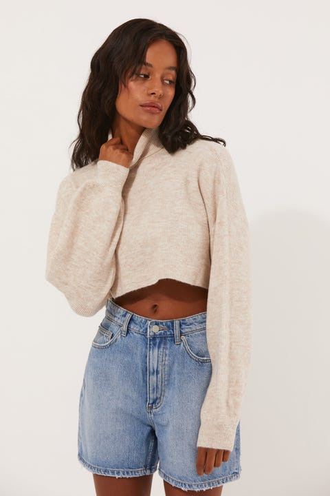 Luck & Trouble Cropped Roll Neck Knit Oat