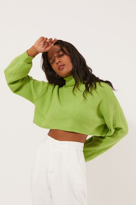 Luck & Trouble Cropped Roll Neck Knit Green