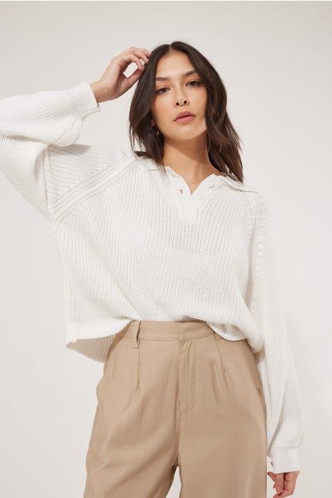 Perfect Stranger Collared Sweater White