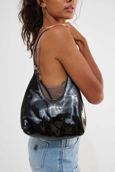 Token Riviera Patent Shoulder Bag Black