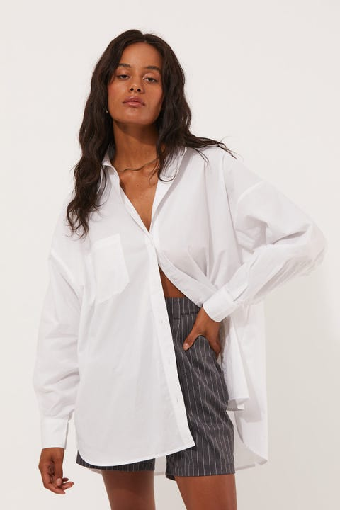 Perfect Stranger Oversized Poplin Shirt White