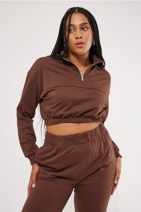 Perfect Stranger 1/4 Zip Cropped Sweater Brown