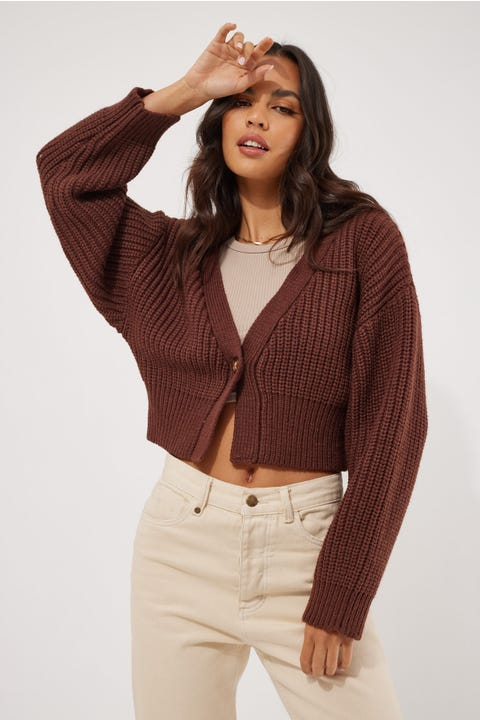 Perfect Stranger Romantic Knit Cardigan Brown