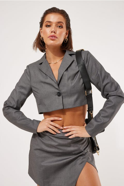 Luck & Trouble Cropped Blazer Charcoal