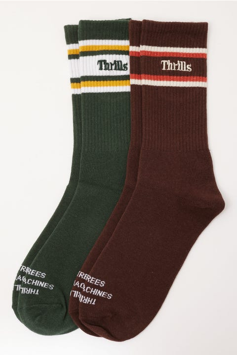 Thrills Strength Sock 2 Pack Postal Brown/Sycamore