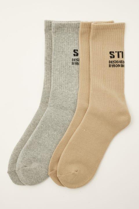 Thrills Stencil Sock 2 Pack Grey Marle/Washed Tan