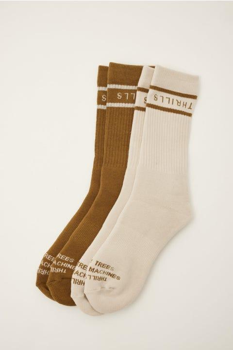 Thrills Minimal Sock 2 Pack Cement/Moss