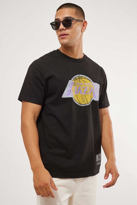 Mitchell & Ness Distressed Logo Tee Lakers Black