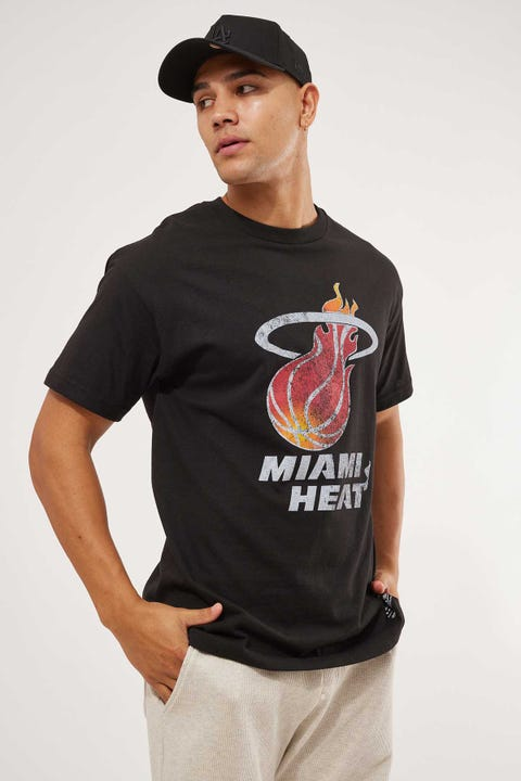 Mitchell & Ness Distressed Logo Tee Miami Heat Black