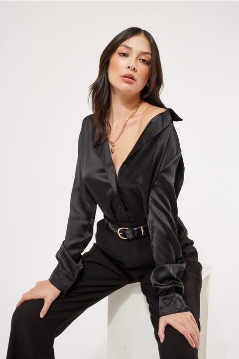 Perfect Stranger Satin Collared Shirt Black