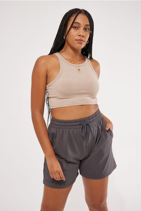 Perfect Stranger Longer Line Fleece Short Charcoal