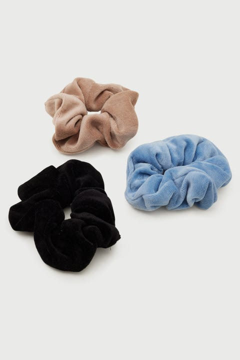 Token Velour Scrunchie Pack Blue/Black/Taupe