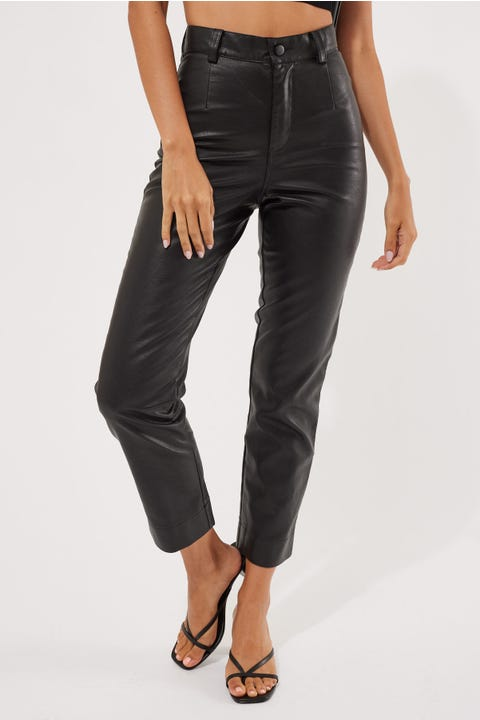 Perfect Stranger Tyra PU Pants Black