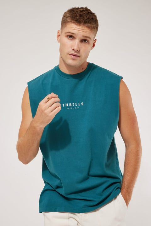 Thrills Palmed Thrills Merch Muscle Tee Washed Teal