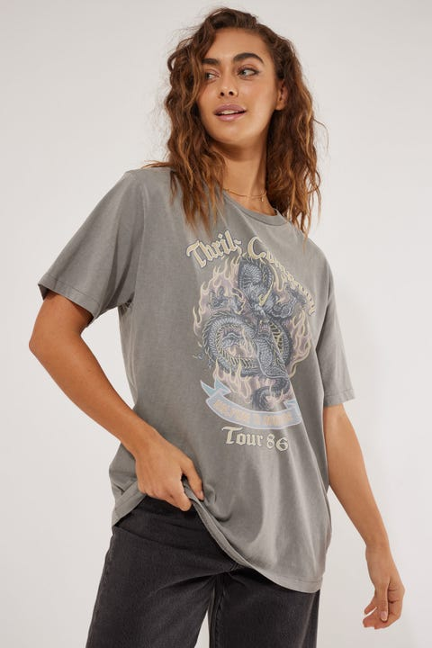 Thrills Revival Merch Tee Washed Grey