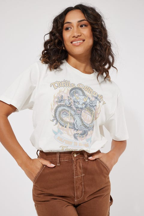 Thrills Revival Merch Tee Dirty White