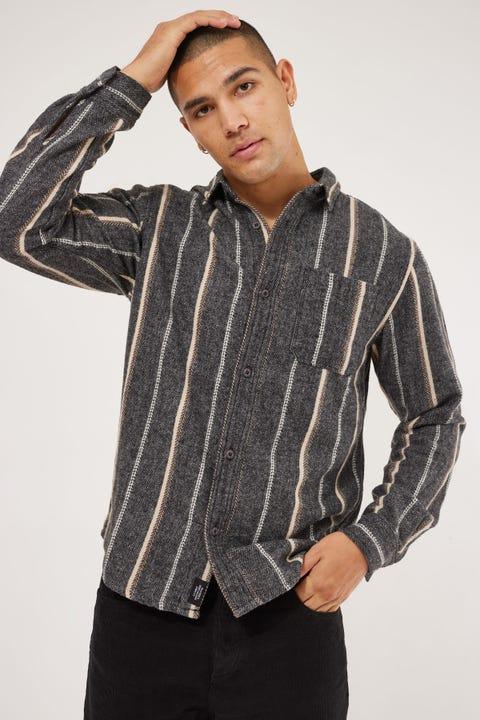 Thrills Work Shop Long Sleeve Flannel Shirt Dark Grey