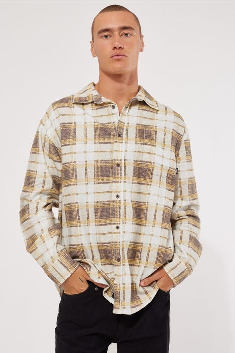 Thrills Fire Rose Oversized Long Sleeve Flannel Shirt Mineral Yellow