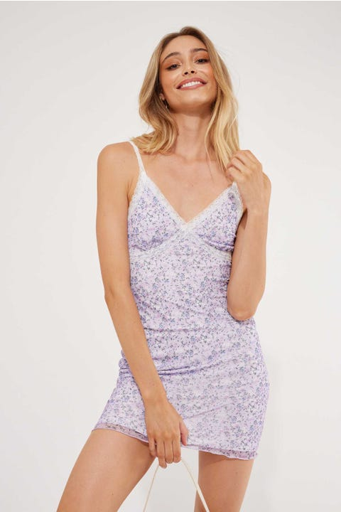 Luck & Trouble Homecoming Mesh Mini Dress Purple Floral