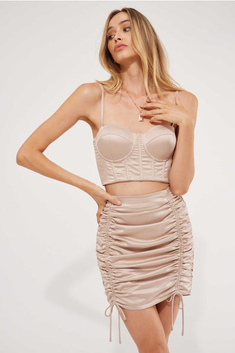 Luck & Trouble Iconic Mini Skirt Nude