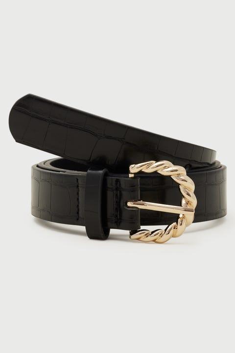 Token Twist Buckle Belt Black/Gold