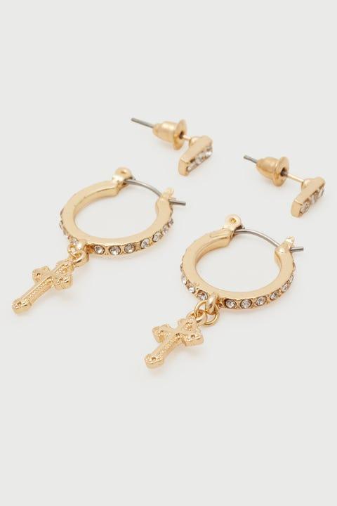 Token Diamante Cross Earring Pack Gold
